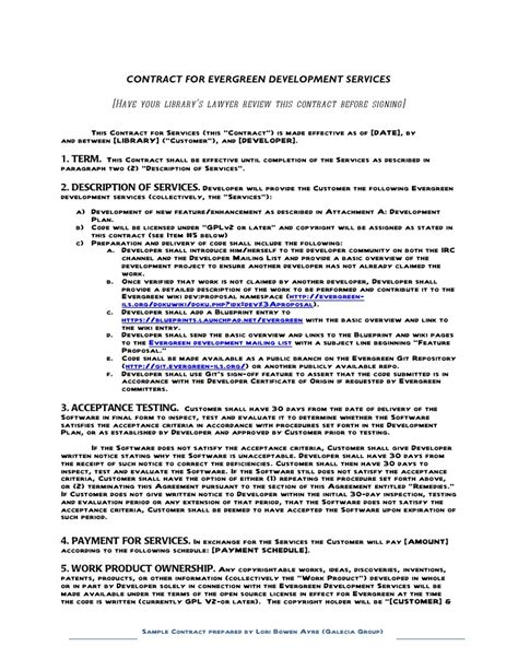 software development terms and conditions template sle contract for contracting with a developer evergreen