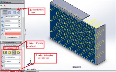 solidworks fill pattern use command fill pattern to multiply details according to