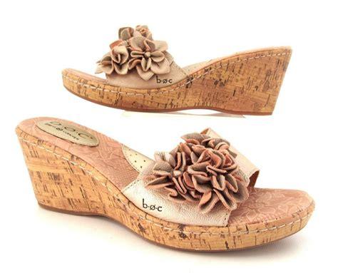 born cork wedge sandal boc born concept metallic leather cork wedge heels