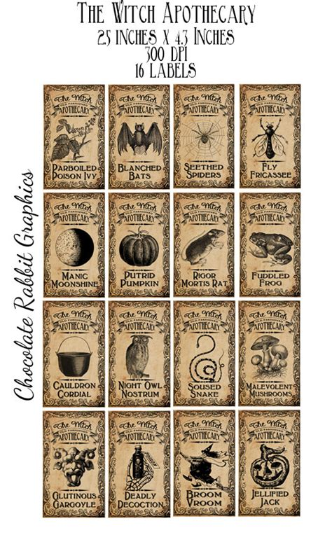 potion label template witch aged apothecary potion labels digital