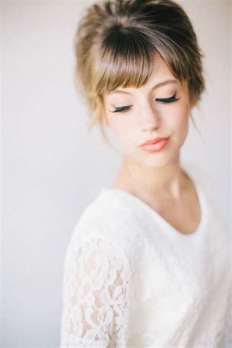 bridal hairstyles bangs 36 pretty bridal hairstyle ideas with bangs happywedd com