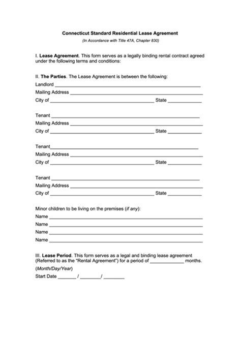 printable lease agreement ct fillable connecticut standard residential lease agreement