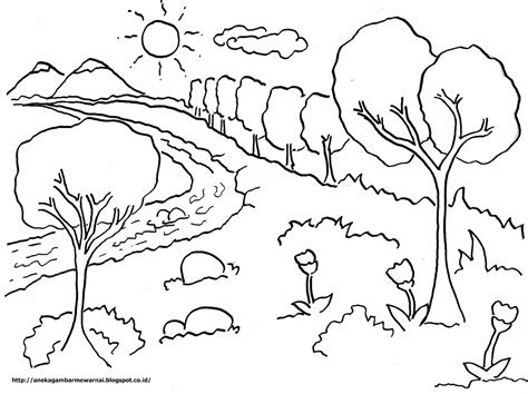 gambar mewarnai pemandangan langit cerah untuk anak paud dan tk aneka gambar mewarnai