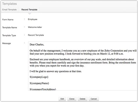 onboarding email template resources zoho