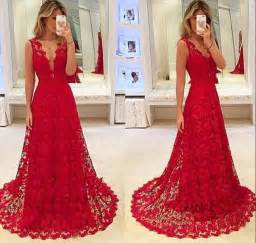 Sexy Red Lace V Neck Prom Dress 2017 Tulle BA3843 2018