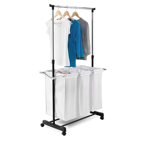 Triple Sorter Laundry Center With Hanging Bar In Laundry Carts Sorter Laundry