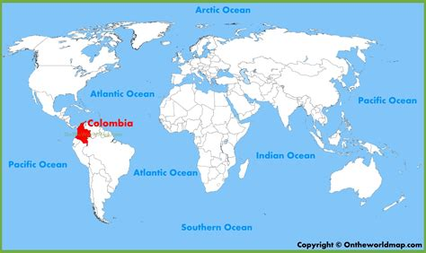 colombia on a world map colombia location on the world map