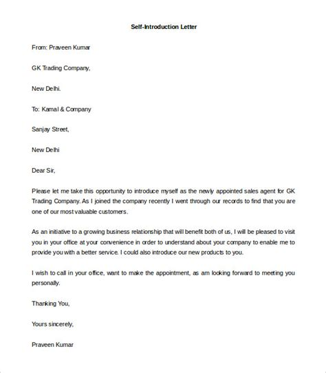 Personal Introduction Letter To A Company self introduction letter cominyu info cominyu info