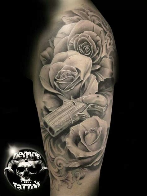 black and grey roses tattoos black and gray roses and gun gun tattoos
