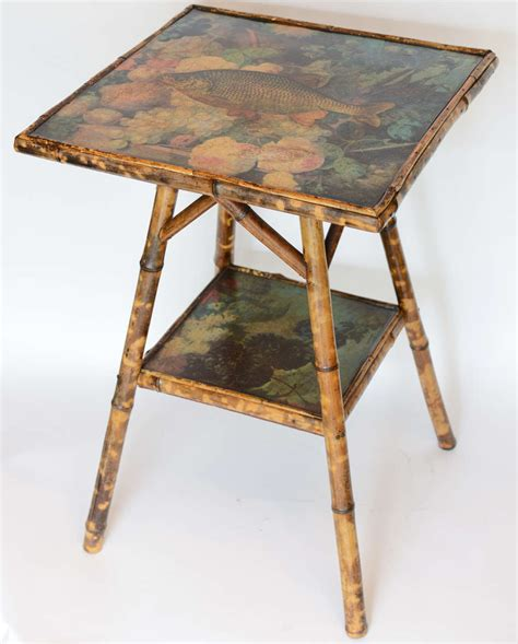 Antique Two Tier Decoupage Bamboo Table For Sale At 1stdibs