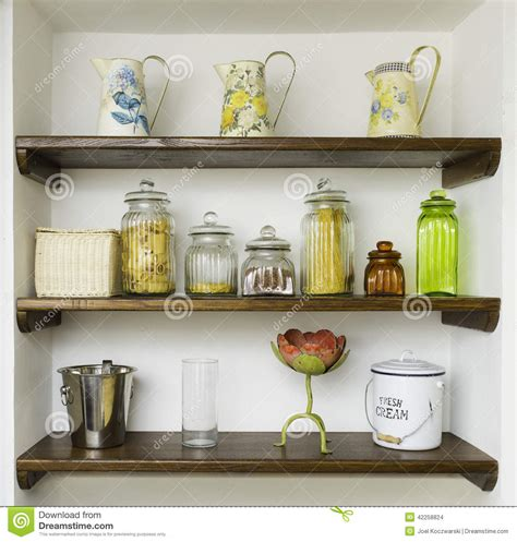 kitchen shelf vintage kitchen shelves with jars jugs and pots stock