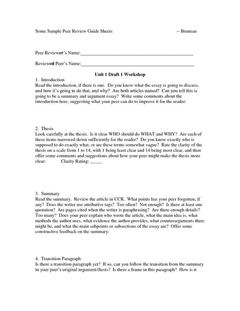 peer review template research paper 12 best images of writing peer review worksheet