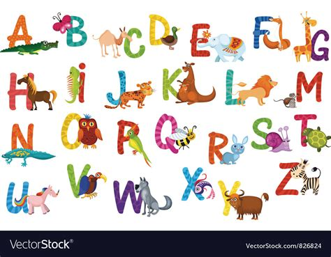 alphabet with animals stock vector animals alphabet royalty free vector image vectorstock