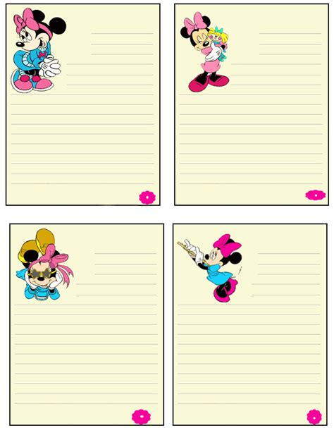printable minnie mouse envelope minnie mouse notes printable stationery pinterest