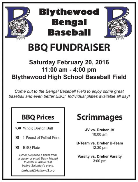 baseball fundraiser flyer template blythewood team home blythewood bengals sports