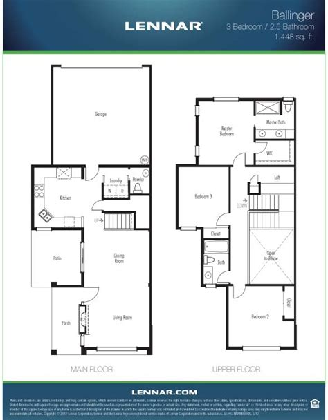 lennar townhome floor plans the ballinger townhome 1448 square feet with 3 bedrooms