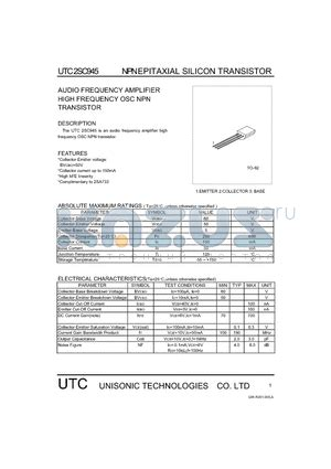 transistor audio lifier pdf utc2sc945 datasheet npn epitaxial silicon transistor audio frequency lifier utc2sc945