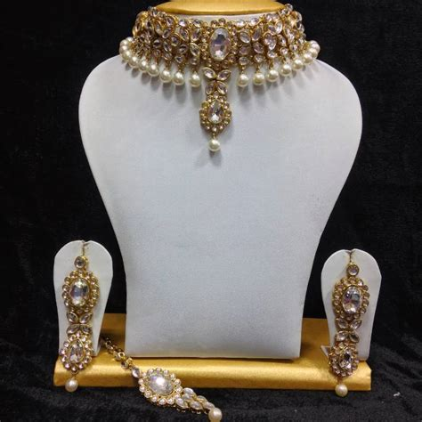 0219c6 Kalung Fashion Choker Key Pearl Pendant Decorated Layer 1 buy neck style kundan jewelry in white and pearls