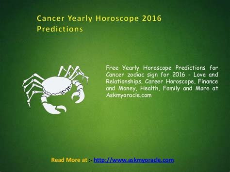 cancer yearly horoscope 2016 sun signs