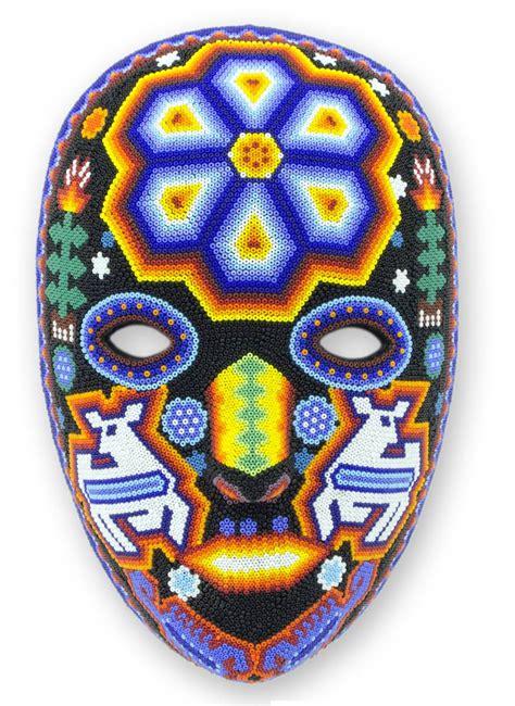 Authentic Huichol Multicolor Beadwork Mask   Shaman Deer   NOVICA