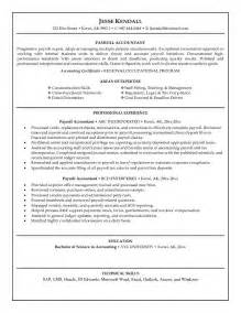 Payroll Accountant Resume by Exle Payroll Accountant Resume Free Sle