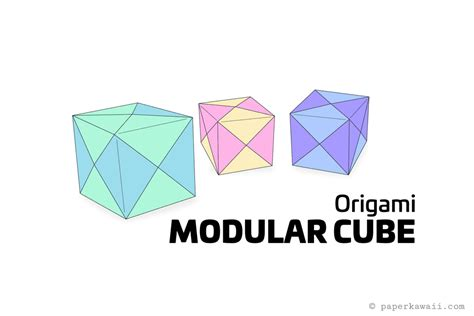 Origami Cube One Sheet - how to make a modular origami cube box