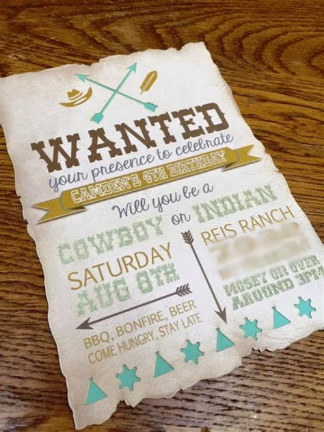 cowboy indian birthday invitations kara s ideas rustic cowboys and indians birthday kara s ideas