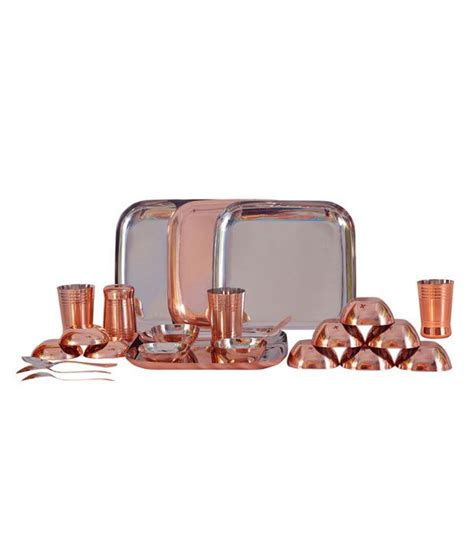 copper dining set india dynore stainless steel copper plated dinner set set of