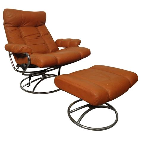 ekornes ottoman mid century reclining chair and ottoman by ekornes
