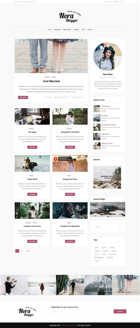 wordpress blog themes elegant nora elegant wordpress blog theme themes templates