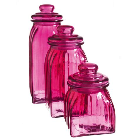 new pink glass jars 3pc canisters kitchen decor storage magenta home accent ebay