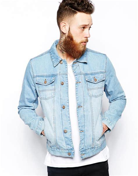 light wash denim jacket mens asos denim jacket with bleach wash in blue for men lyst