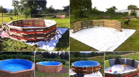 make a beautiful swimming pool with 10 old pallets just