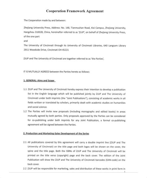 cooperation agreement template 9 framework agreement templates free sle exle