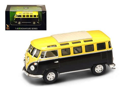 black volkswagen bus 1962 volkswagen microbus van bus yellow black 1 43 diecast