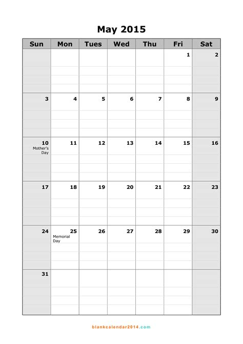 Blank May 2015 Calendar May 2015 Calendar Printable Portrait 15 Blank Monthly
