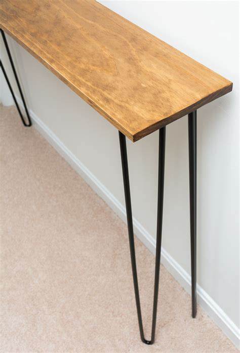 hairpin leg console table leftover pine diy hairpin leg console table by