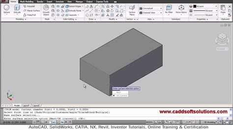 layout command in autocad autocad 3d fillet chamfer command tutorial autocad