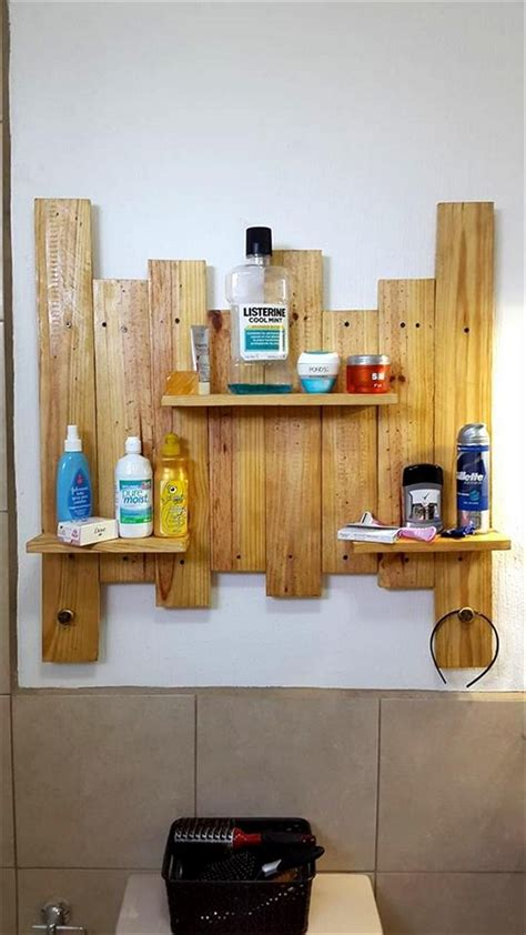 bathroom ledge shelf ideas to recycle pallets wood diy home decor
