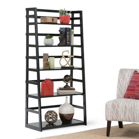 Simpli Home Acadian Black Ladder Bookcase Axss008kd Bl Black Ladder Bookcase