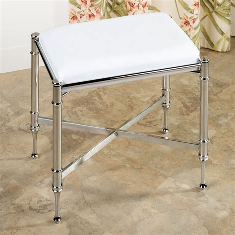 chrome vanity bench estate upholstered vanity bench