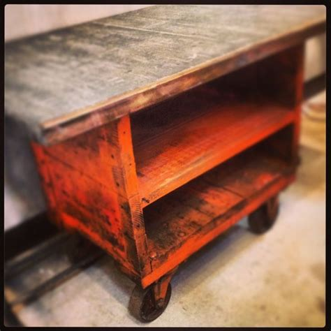 rustic pallet kitchen island cart factory cart topped with brickmaker s pallet via price studio industrial