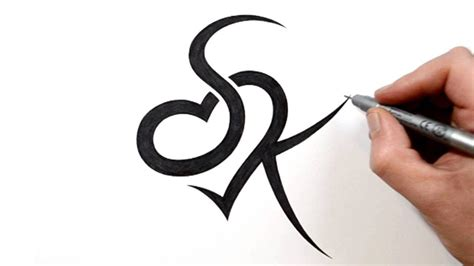 100 k letter design tattoos combining initials s and k with a design my