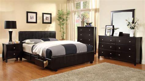 burlington contemporary espresso platform bedroom set  padded leatherette cm