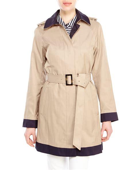 color block trench coat jones new york single breasted color block trench coat in