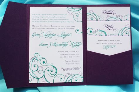 teal wedding invitations purple teal turquoise puzzle swirl pocketfold