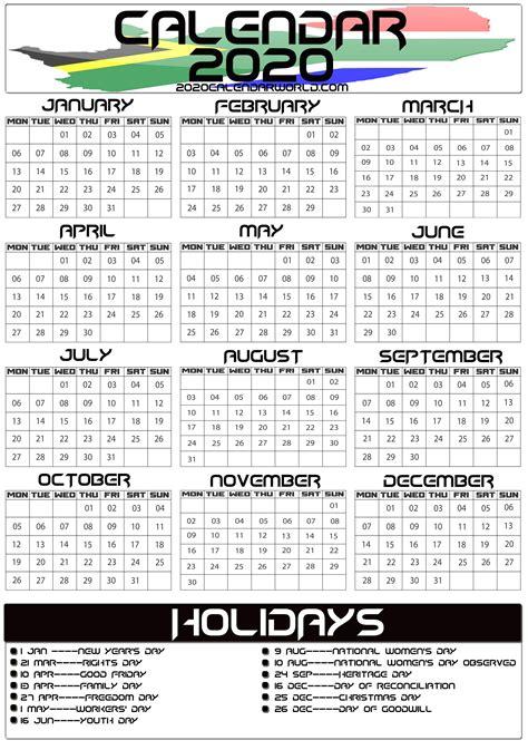 south africa  calendar  holiday printable template holiday printable templates africa