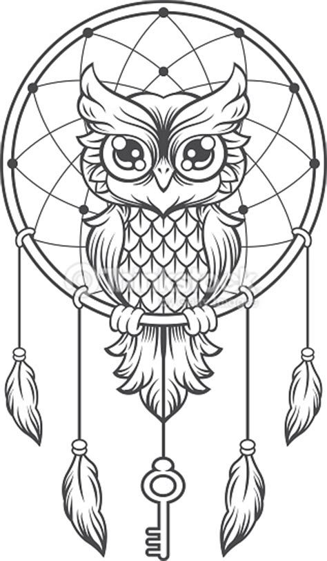 coloring pages moon dreamcatcher dreamcatcher black and white owl vector art thinkstock