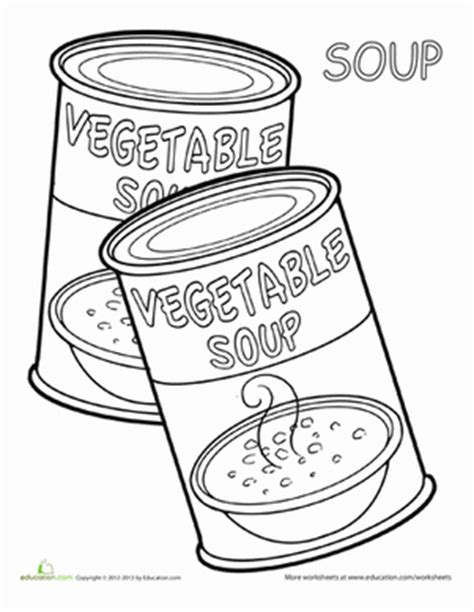 coloring pages canned food soup coloring page education com