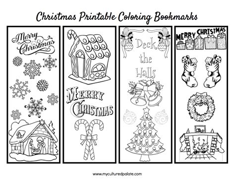 printable xmas bookmarks free christmas bookmarks to color cultured palate